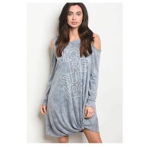 """Dresses & Skirts - """"More Sunday"""" Blue Washed Cold Shoulder Dress Lg"""